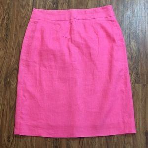J. Crew Pink Linen Pencil Skirt
